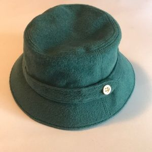 Accessories - Coach Teal Hat, Women's, Gold button detail